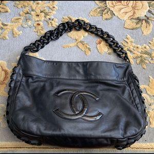 CHANEL calfskin Modern Chain Hobo black bag dbc690a672706